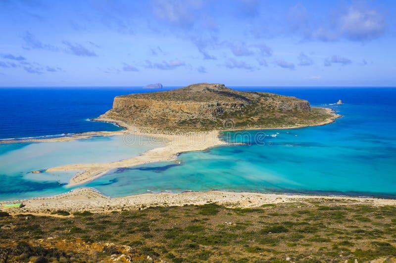 在Balos盐水湖和格拉姆武萨群岛海岛的惊人的看法克利特的 库存图片