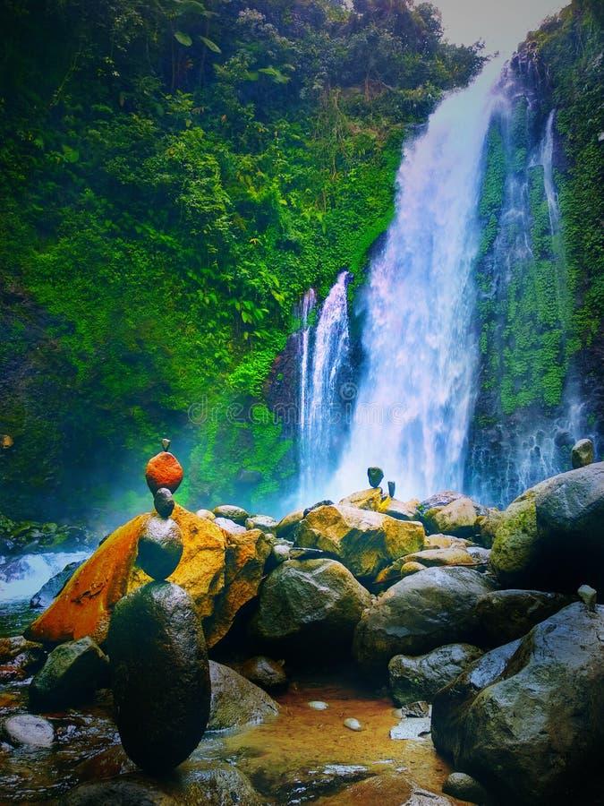 在banyumas中爪哇省的瀑布 库存图片