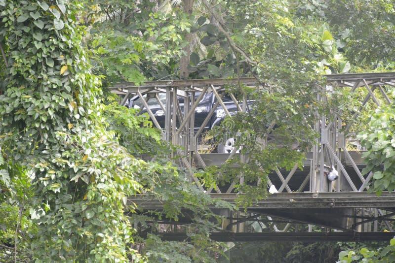 在barangay Tiguman的Tiguman桥梁, Digos市,南达沃省,菲律宾 图库摄影