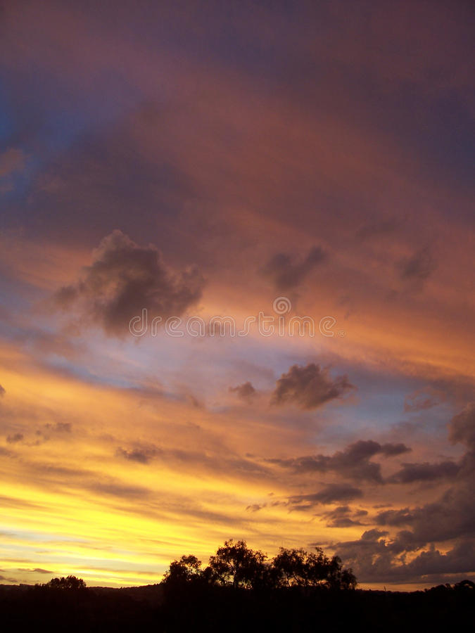 在Barwon河的日落在吉朗澳大利亚 免版税库存图片