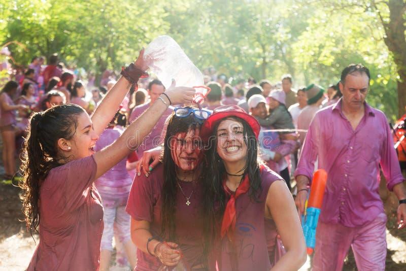 在Batalla del vino期间的愉快的妇女 图库摄影