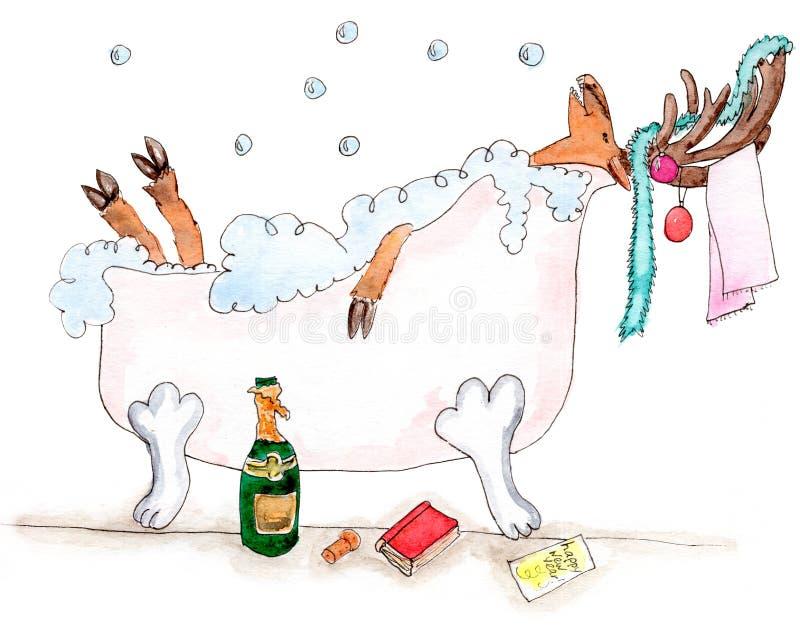 在bathtube的快乐的新年鹿 库存例证