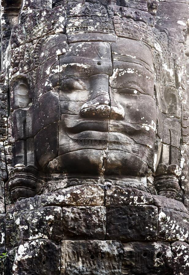 在Bayon寺庙吴哥城的佛教石面孔 免版税库存照片