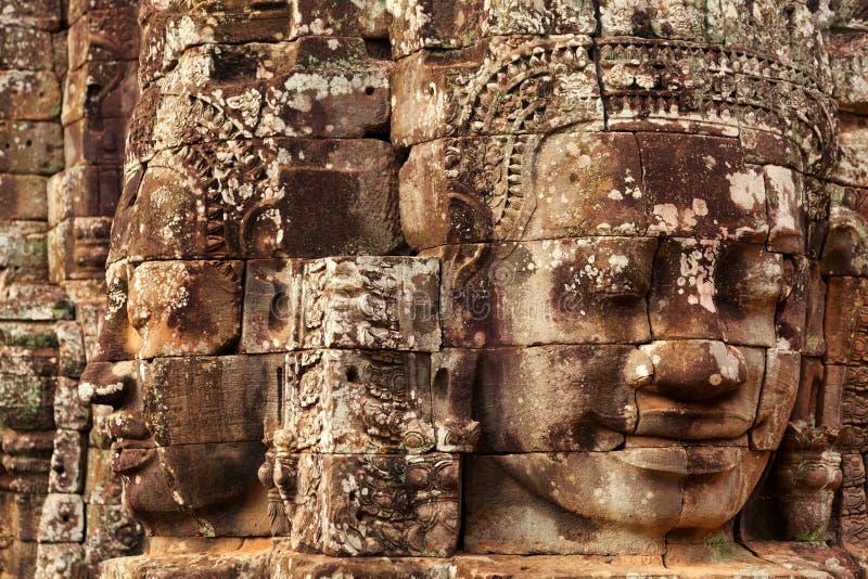 在Bayon寺庙,吴哥窟,柬埔寨的面孔 库存图片
