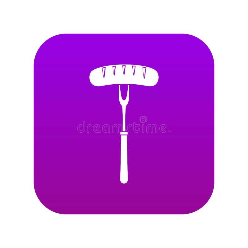 在bbq叉子象数字紫色的香肠 库存例证