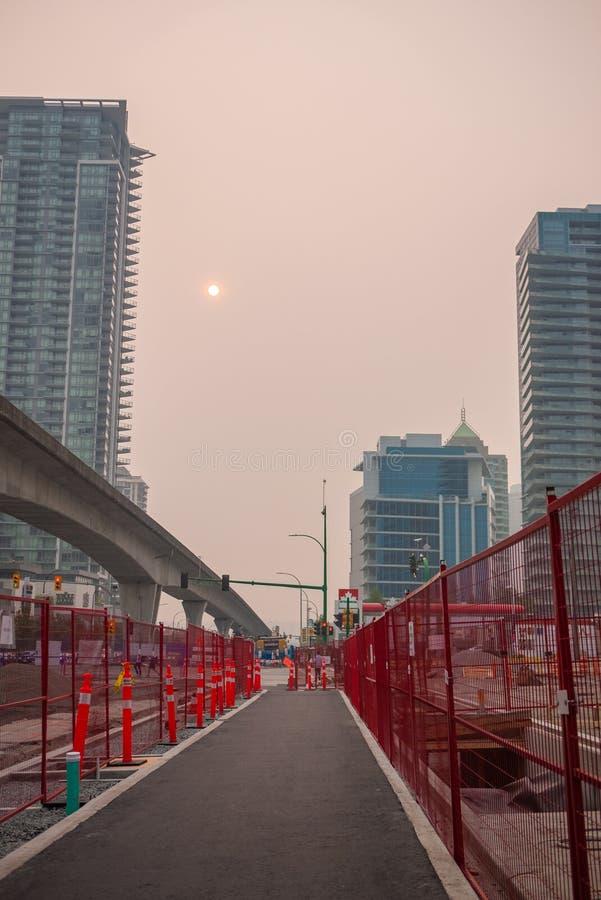 在BC野火期间的温哥华 图库摄影
