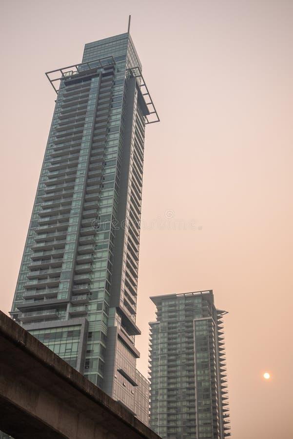 在BC野火期间的温哥华 免版税库存照片