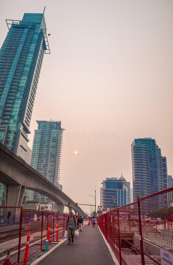 在BC野火期间的温哥华 库存照片