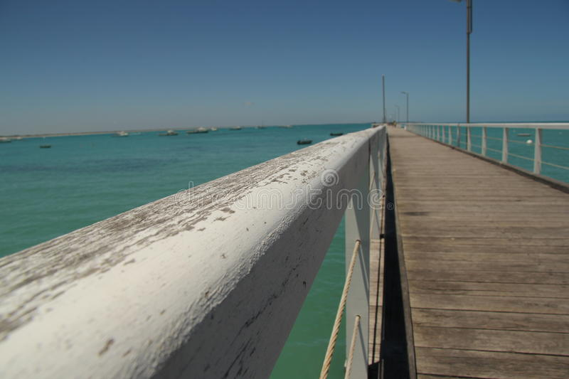 在beachport澳大利亚的码头 免版税库存照片