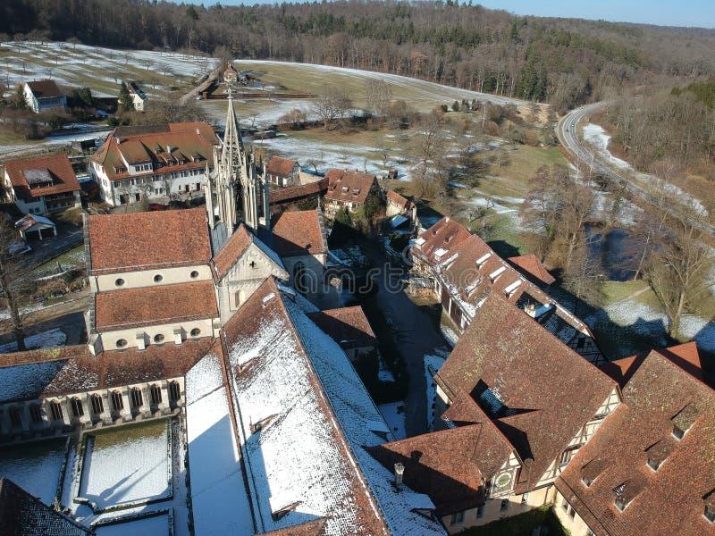 在Bebenhausen修道院德国的鸟瞰图 免版税库存照片