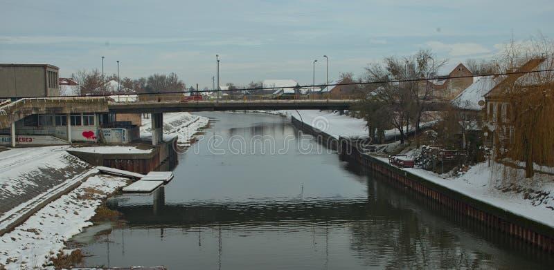 在Begej河的看法在兹雷尼亚宁,塞尔维亚在冬时 免版税库存照片