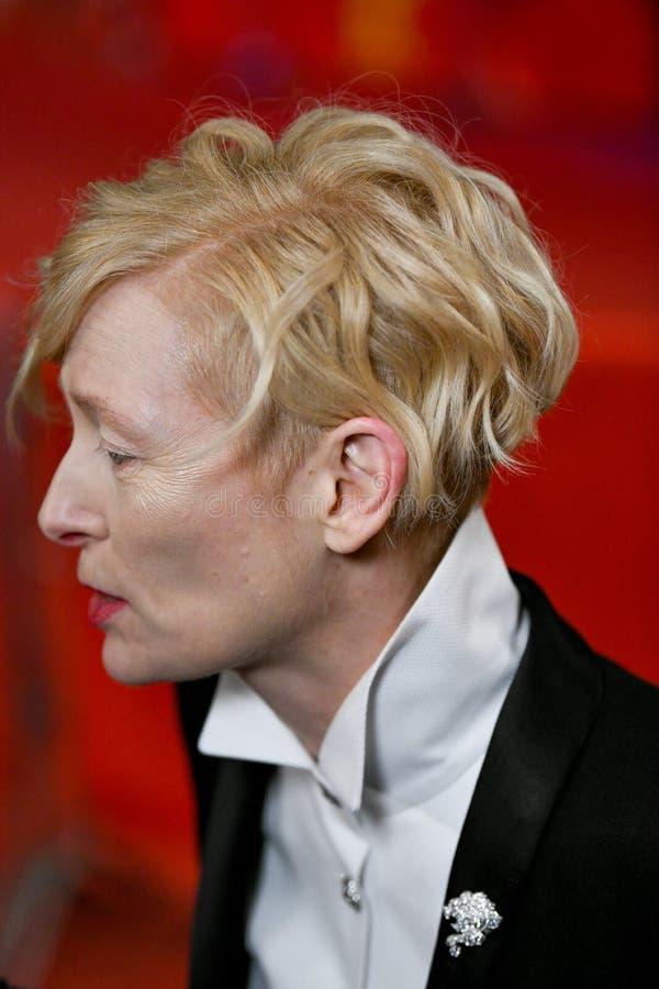 在Berlinale期间的蒂达・史云顿2018年 库存图片