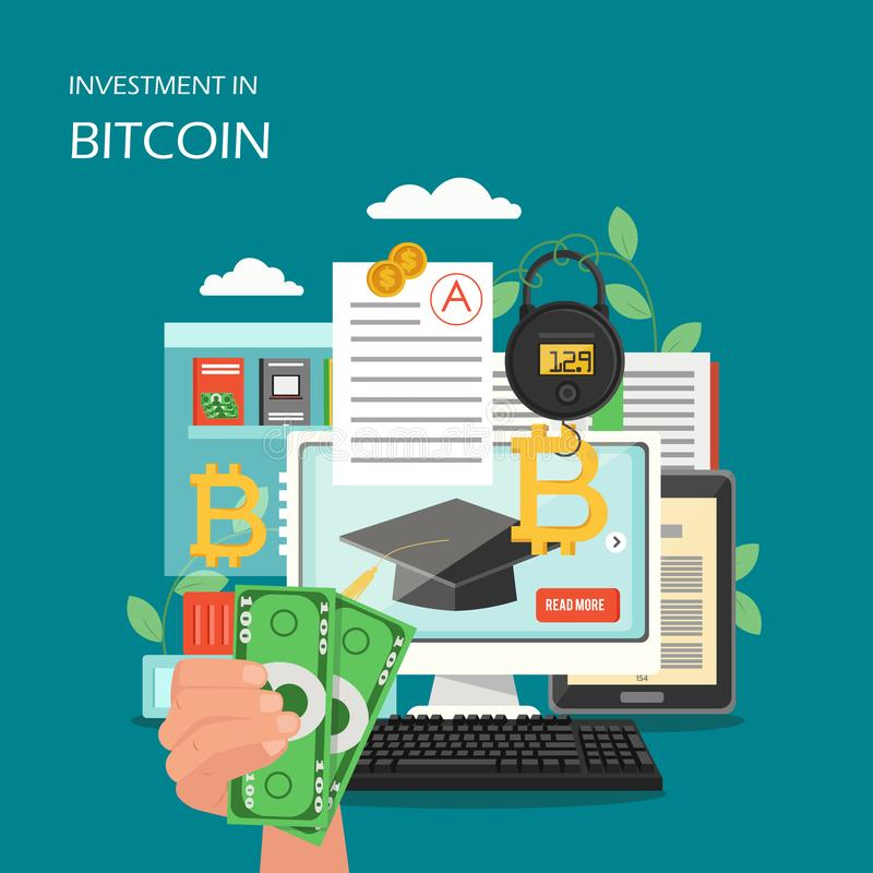 在bitcoin传染媒介平的样式设计例证的投资 向量例证