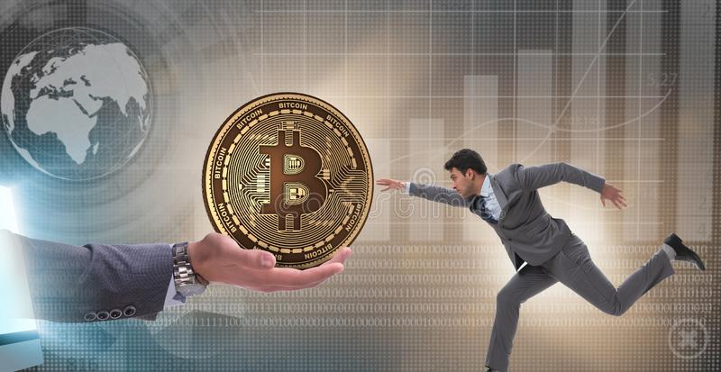 在bitcoin涨价概念的商人 免版税库存图片