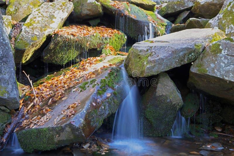 在bloulders中的小瀑布 库存图片