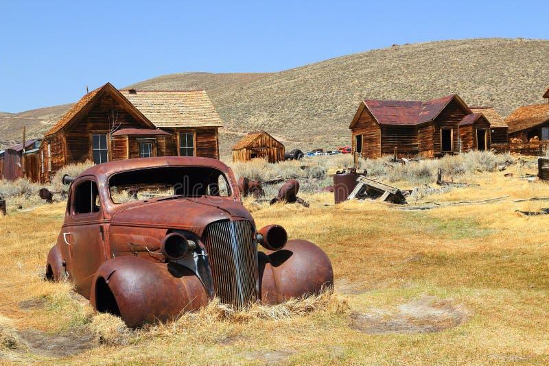 在Bodie状态古迹,加利福尼亚的被拘捕的朽烂 免版税库存图片