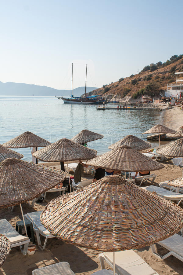 在Bodrum的海滩,土耳其 库存照片
