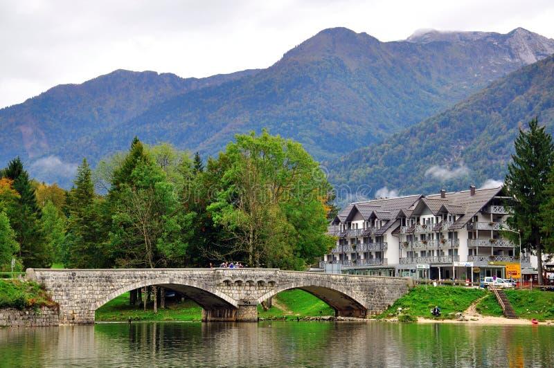 在Bohinj湖的老桥梁 库存图片