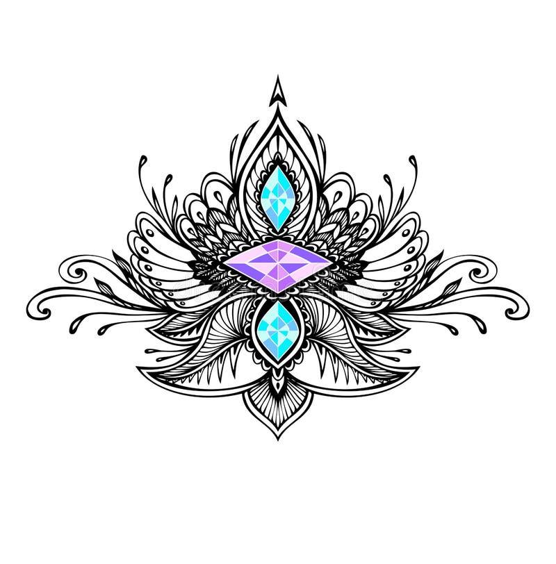 在boho样式的抽象zentangle标志与纹身花刺黑色的宝石
