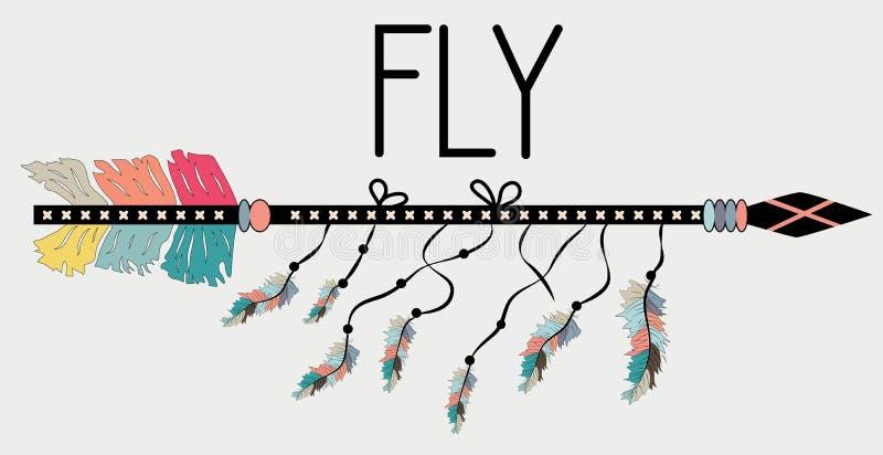 在Boho样式飞行的诱导海报 箭头和字法 手拉的黑元素 库存例证