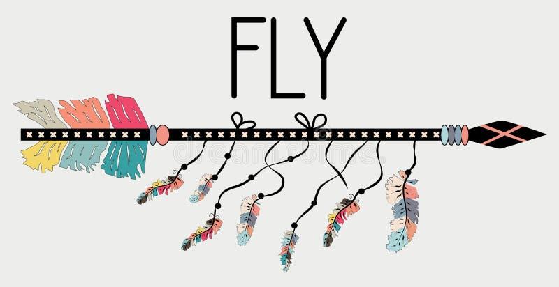 在Boho样式飞行的诱导海报 箭头和字法 库存例证