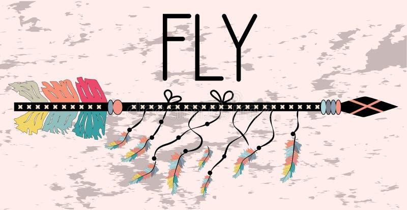 在Boho样式飞行的诱导海报 箭头和字法 向量例证