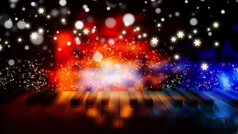 在bokeh五颜六色的光的钢琴钥匙 皇族释放例证