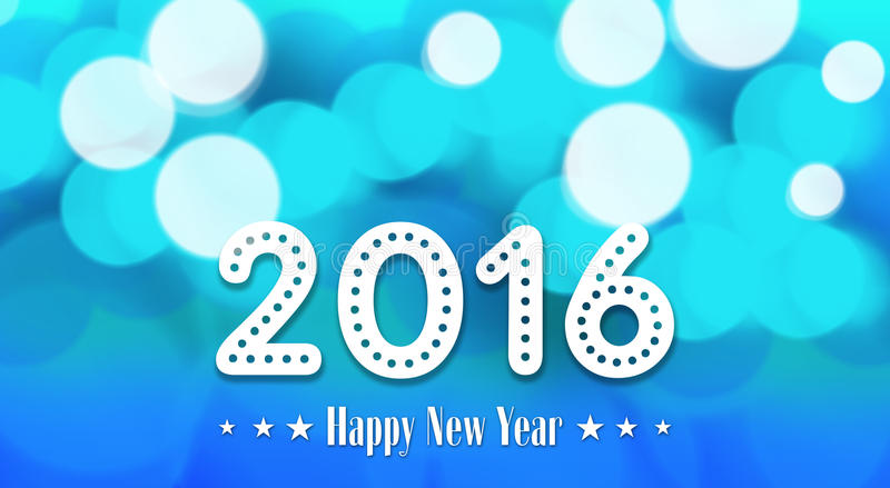 在bokeh和透镜火光作用的新年对凉快的蓝色背景 向量例证