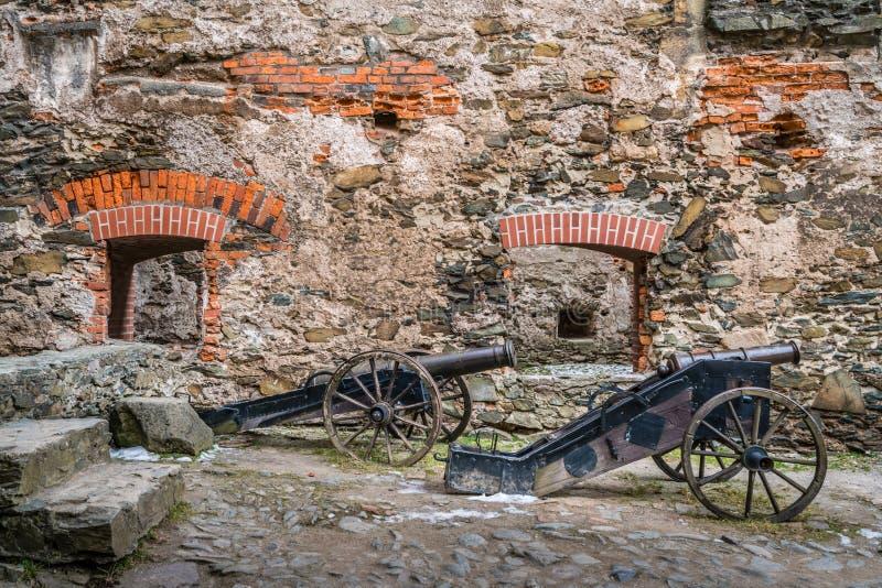 在Bolkow城堡的老大炮 免版税库存图片