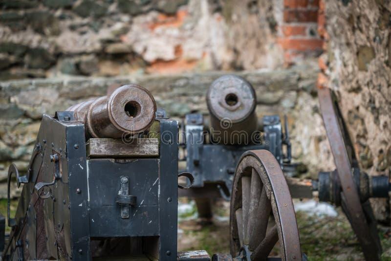 在Bolkow城堡的老大炮 免版税图库摄影