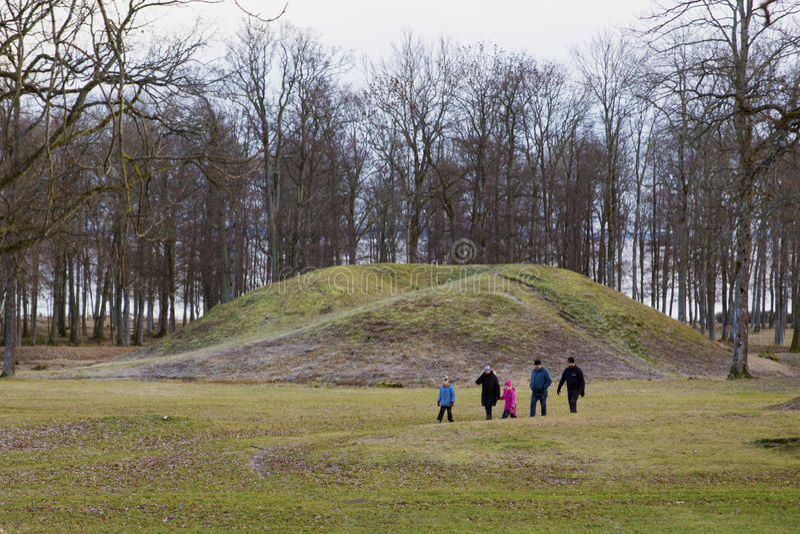 在Borre土墩公墓的北欧海盗坟墓在霍尔滕,挪威 图库摄影