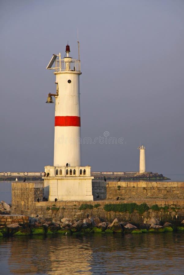 在Bosphorus海峡的灯塔在伊斯坦布尔 免版税图库摄影