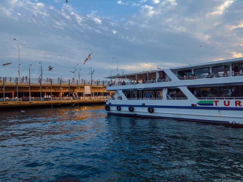 在Bosphorus的日落 免版税图库摄影