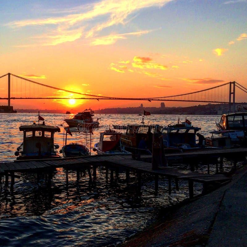 在Bosphorus的日落 库存照片