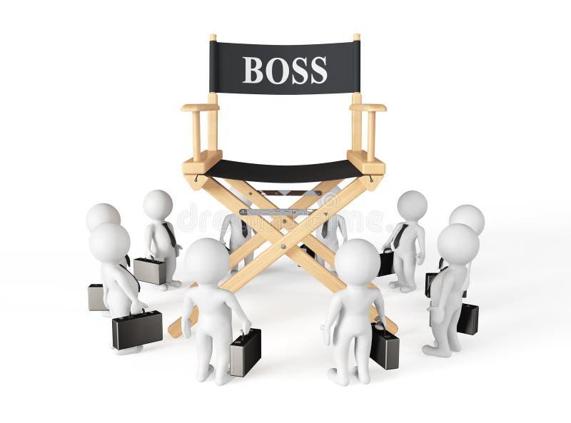 在Boss Chair主任附近的3d Businessmans 皇族释放例证