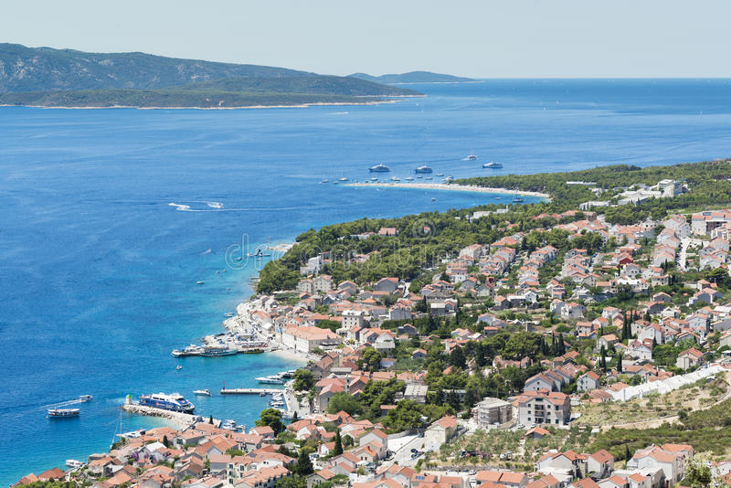在Brac海岛上的金黄垫铁在克罗地亚 免版税库存图片