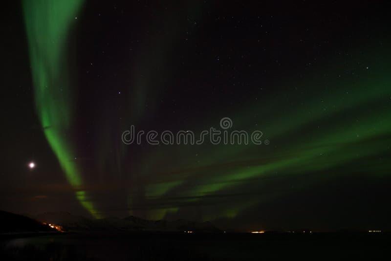 在Bremnes的北极光在哈尔斯塔,挪威附近 免版税图库摄影