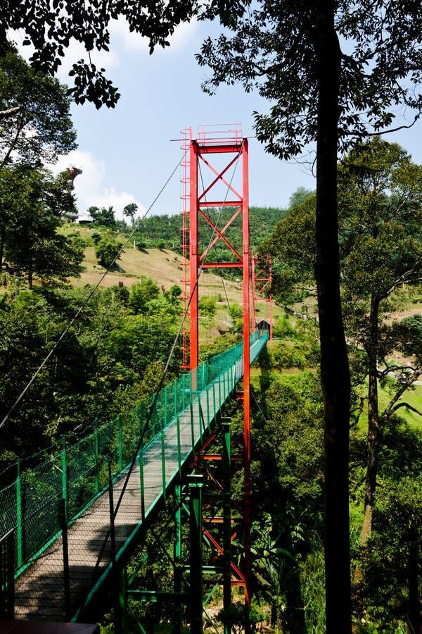 在Broga Sak达托寺庙, Semenyih,马来西亚的垂悬的吊桥 免版税库存图片