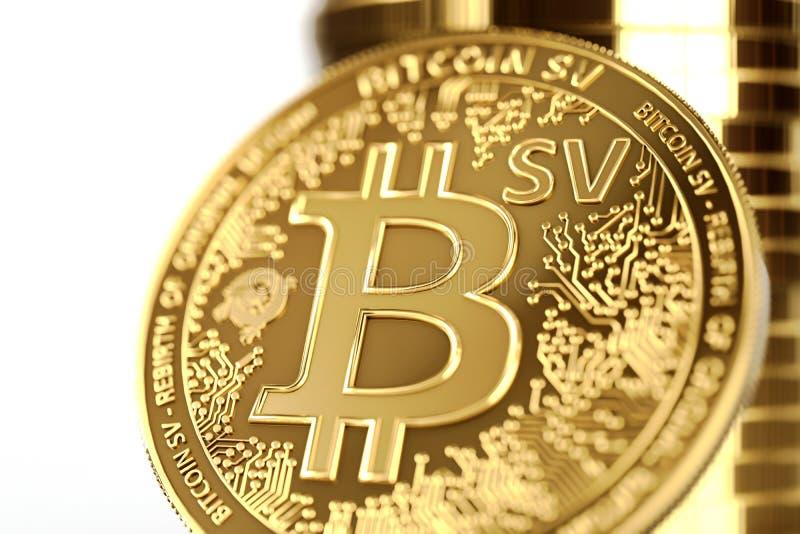在BSV信件的接近的射击在概念性Bitcoin Satoshi视觉硬币Bitcoin SV 3d?? 库存例证