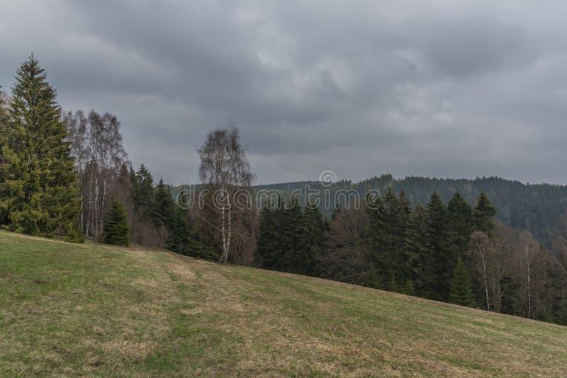 在Bublava滑雪倾斜村庄附近的风景Krusne山的在西部波希米亚 库存图片