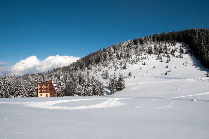 在Bucegi山的瑞士山中的牧人小屋 库存图片