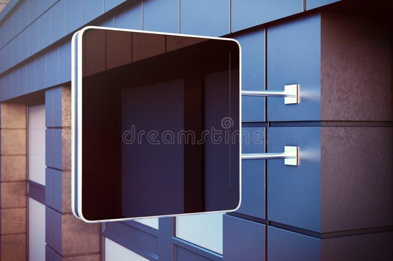 在bulding的城市的黑cristal数字式屏幕 现代大厦具体门面在背景中 水平的大模型 库存图片