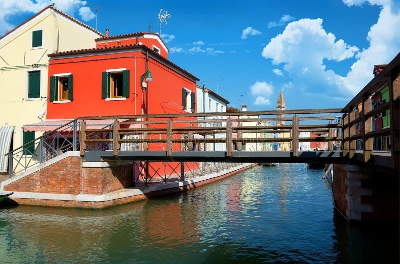 在Burano的桥梁 库存图片