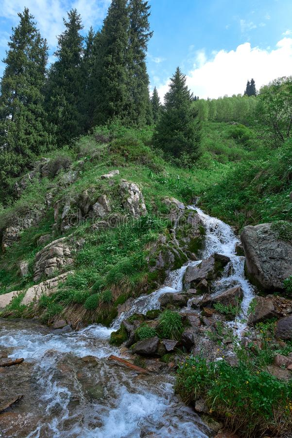 在butakovsky瀑布附近的河在阿尔玛蒂附近 图库摄影