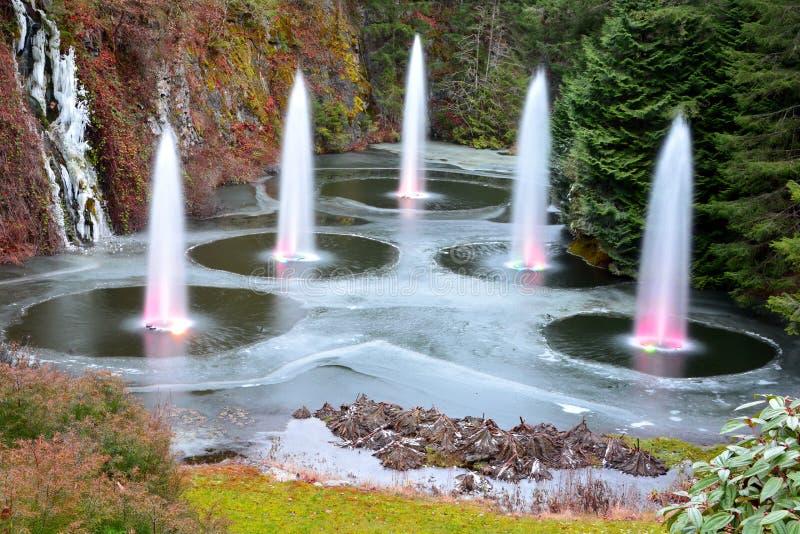 在Butchart庭院的喷泉 免版税库存照片