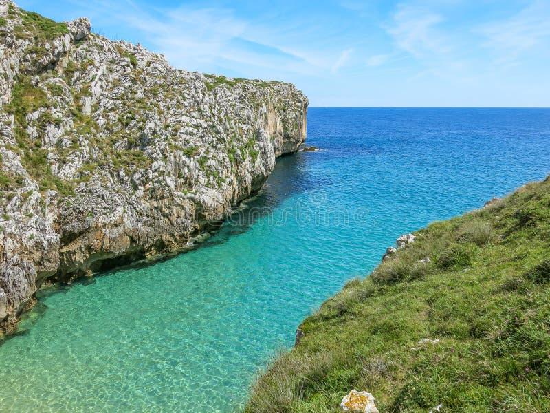 在Cabo在利亚内斯和里瓦德塞利亚之间的de 3月的风景海岸线,阿斯图里亚斯,北西班牙 免版税库存图片