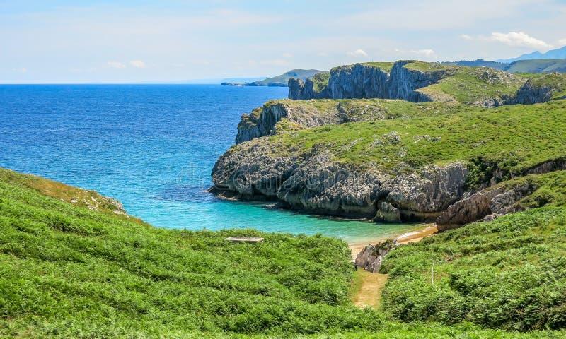 在Cabo在利亚内斯和里瓦德塞利亚之间的de 3月的风景海岸线,阿斯图里亚斯,北西班牙 免版税库存照片