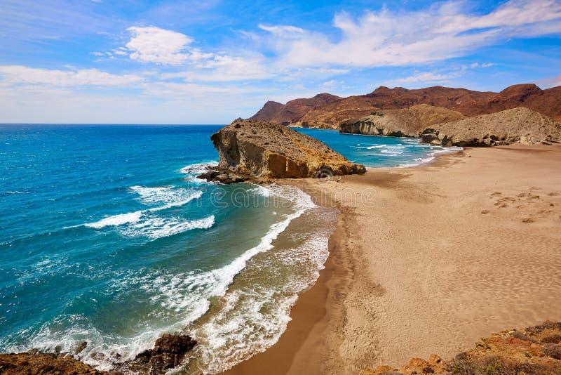 在Cabo de加塔角的阿尔梅里雅Playa del Monsul海滩 库存照片