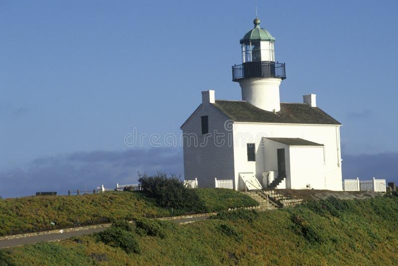 在Cabrillo国家历史文物的老洛马角灯塔在洛马角,圣地亚哥,加州 库存照片