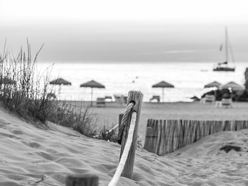在Cala Saona海滩,福门特拉岛的晚上 免版税库存图片